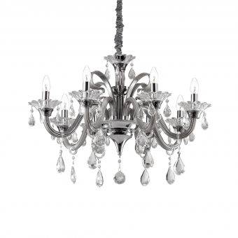 Robert 8 Light Grey Crystals Chandelier