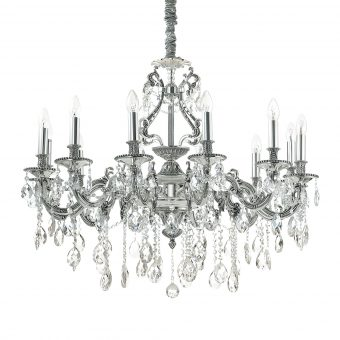 William 12 Light Antique Silver Crystals Chandelier E2-51286