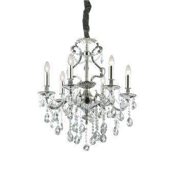 William 6 Light Antique Silver Crystals Chandelier E2-51282
