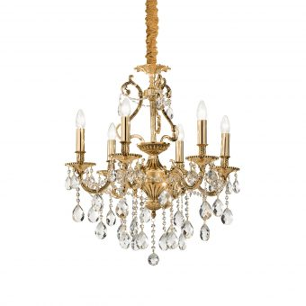 William 6 Light Gold Crystals Chandelier E2-51281
