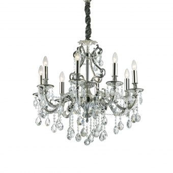 William 8 Light Antique Silver Crystals Chandelier E2-51284