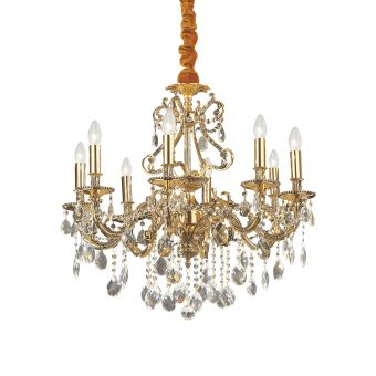 William 8 Light Gold Crystals Chandelier E2-51283