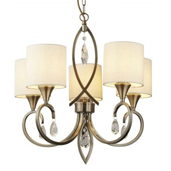 5-Light-Traditional-Antique-Brass-Chandelier-with-Linen-Shades-E2-51336